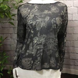 💙 SALE! 3/$15 Black floral sheer large top